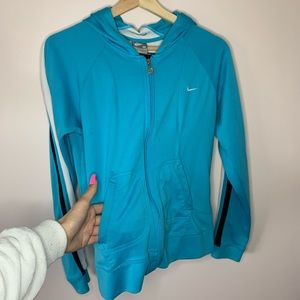 Blue Nike zip up sweater size M